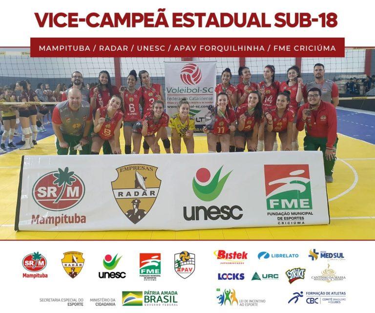 Com apoio da Unesc, vôlei de Criciúma <br> é vice-campeão estadual